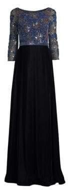 Beaded Top Velvet Gown