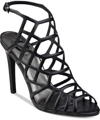 G by GUESS Berrit Caged Dress Sandals $69 thestylecure.com