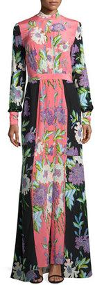 Diane von Furstenberg Floral-Print Slit-Front Silk Maxi Dress, Multicolor $598 thestylecure.com