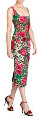 Dolce & Gabbana Sleeveless Stretch Cady Leopard& Rose Print Dress
