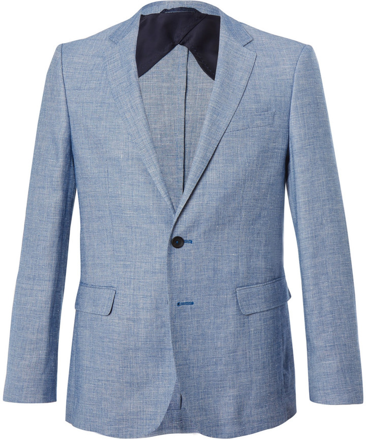 Hugo Boss Hugo Boss Blue Nobis Slim-Fit Wool and Linen-Blend Blazer