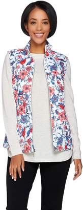 Susan Graver Weekend Printed Cotton Zip Front Vest