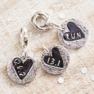 Green River Studio Sweet Heart Round Silver Runners Charm