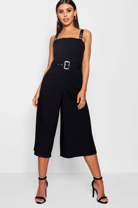 boohoo Petite Belted Square Neck Woven Jumpsuit