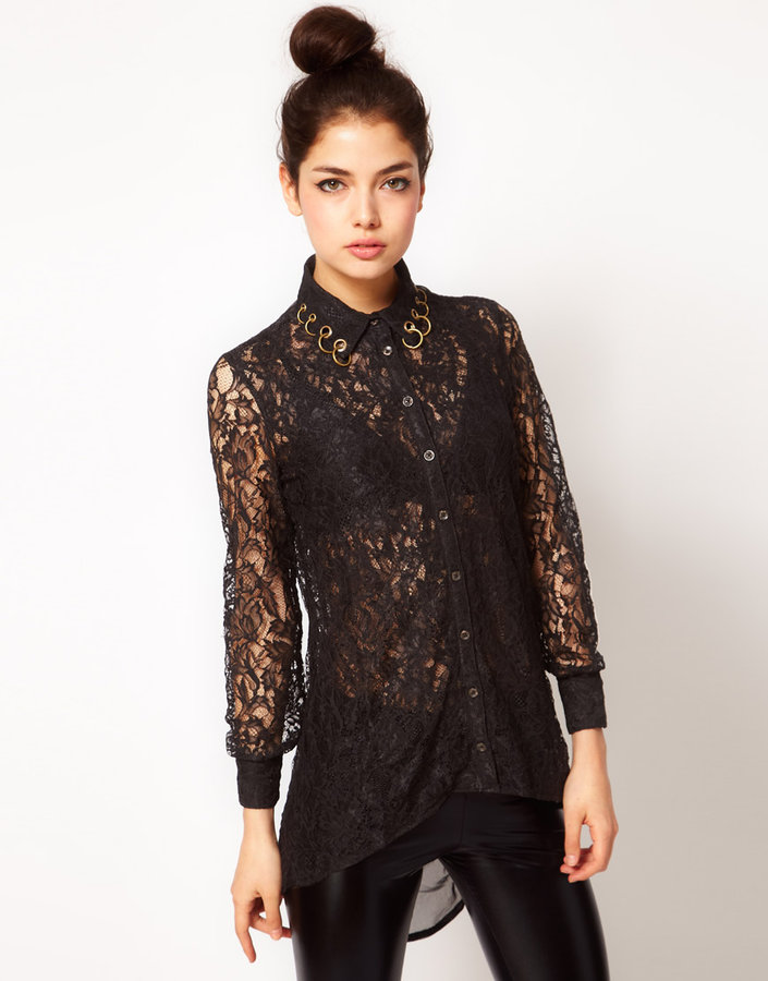 Prey of London Lace Pierced Collar Shirt