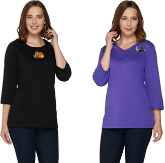 Factory Quacker Set of 2 Fall Fun 3/4 Sleeve T-shirts