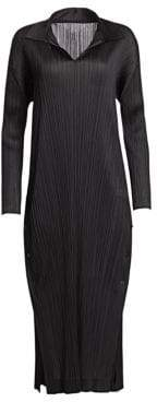 Pleats Please Issey Miyake Monthly Colors Collared Midi Dress