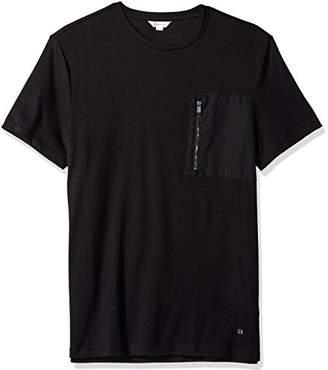Calvin Klein Men's Short Sleeve T-Shirt Mixed Media Pocket Crew Neck
