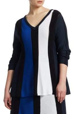 Marina Rinaldi Marina Rinaldi, Plus Size Alburno Striped V-Neck Sweater