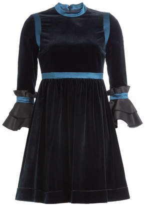 Roksanda Velvet Dress with Flared Sleeves