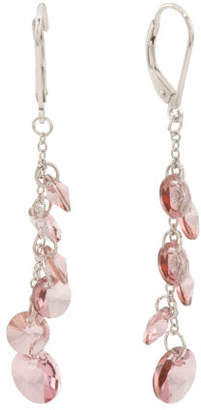 Sterling Silver Swarovski Crystal Pink Dangle Earrings