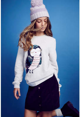 George Grey Sequin Owl Sweatshirt