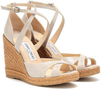 Jimmy Choo Alanah 105 metallic wedge sandals