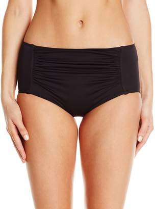 Seafolly Women's Ruched Front Full Coverage Bikini Bottom Swimsuit