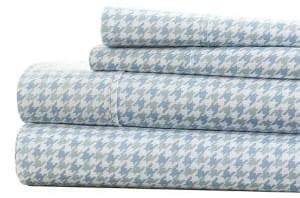 Blissful Bedding Premium Ultra Soft Four-Piece Houndstooth-Pattern Bed Sheet Set