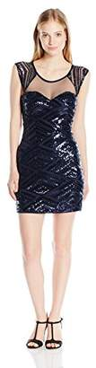My Michelle Sequin Hearts by Women's Cap Sleeve Dress with Mesh Top and Sweetheart Neckline and All Over Details