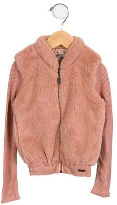 Junior Gaultier Girls' Faux Fur Zip-Up Jacket