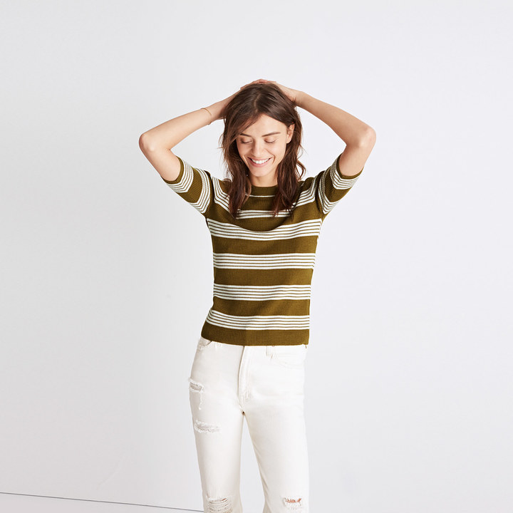 Ribbed Sweater Top in Bennett Stripe