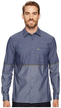 Lacoste Long Sleeve Spread with Two-Pocket Horizontal Stripe Regular Men's Clothing