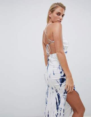 Asos Design DESIGN Tie Dye Ruched Side Halter Jersey Maxi Beach Dress