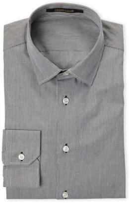 Roberto Cavalli Black Comfort Fit Mini Stripe Dress Shirt