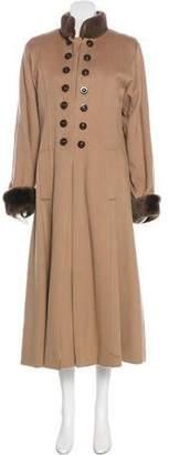 Saint Laurent Cashmere Fur-Trimmed Coat