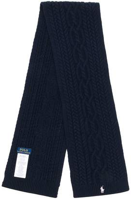 Ralph Lauren logo embroidered knitted scarf