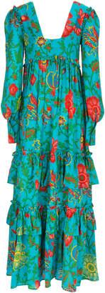 La DoubleJ Casati Ruffled Floral-Print Maxi Dress