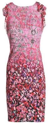Elie Tahari Primrose Floral-Print Ruffle-Trimmed Woven Dress