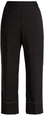 No.21 No. 21 - Crystal Embellished Wool Crepe Trousers - Womens - Black