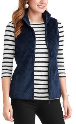 Time and Tru Women's Quilted Sweater Vest