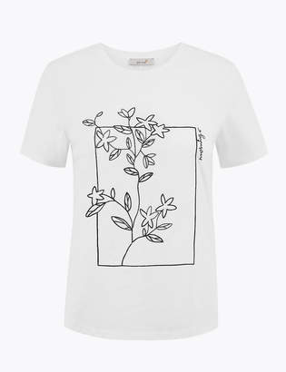 Marks and Spencer Pure Cotton Flower Embroidered T-Shirt