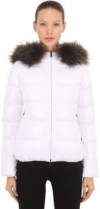 Duvetica Adhara Shiny Nylon Down Jacket W/ Fur