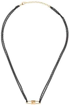 Monica Rich Kosann 18K Diamond Double Sided Lock Charm Necklace