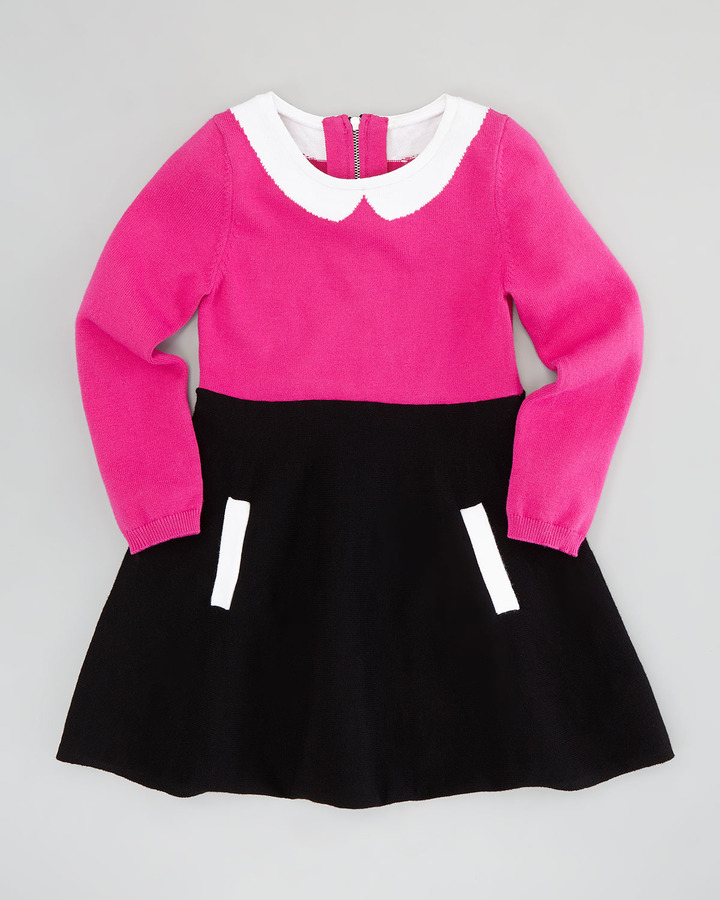 Milly Minis Amanda Collar Dress, Pink/Black