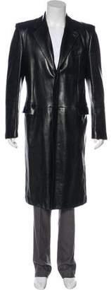 Saint Laurent Leather Overcoat