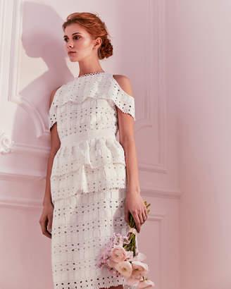 Ted Baker ROSSE Cold shoulder lace midi dress