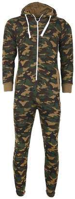 d3c107fec8b3 Mens Camo Camouflage Onesie Hooded Zip Playsuit All in One Piece Jumpsuit  Adult Size