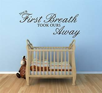 Mural First Breath Nursery Kids Wall Art Quote Sticker Decal Self Adhesive Vinyl Wsd652