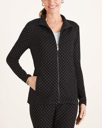 Zenergy Check-Print Jacquard Jacket