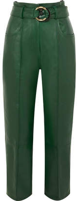 Petar Petrov Cropped Belted Leather Straight-leg Pants - Dark green
