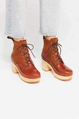 Swedish Hasbeens Hippie Lace Up Clog Boot
