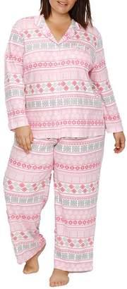 Karen Neuburger Plus Size Girlfriend Knit Fair Isle Pajama Set
