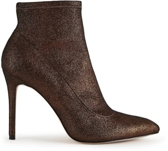 Reiss LUPITA METALLIC POINT TOE HEELED ANKLE BOOTS Bronze Metallic