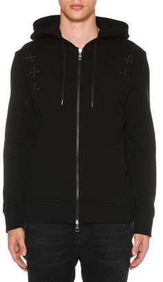 Neil Barrett Men's Military Star Zip-Front Hoodie Sweatshirt