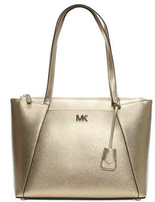 Michael Kors Maddie Pale Gold Leather East West Tote Bag