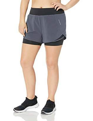 Core 10 Women's Plus Size Knit Waistband Run Short with Built-in Compression