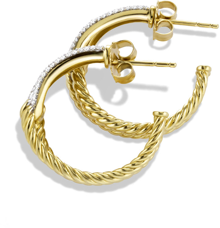 David Yurman Labyrinth Hoop Earrings with Diamonds in Gold