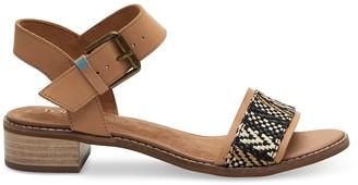 Toms Honey Leather Geometric Woven Women's Camilia Sandals