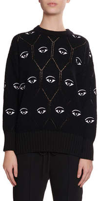 Kenzo Embroidered Eye Pointelle Pullover Sweater